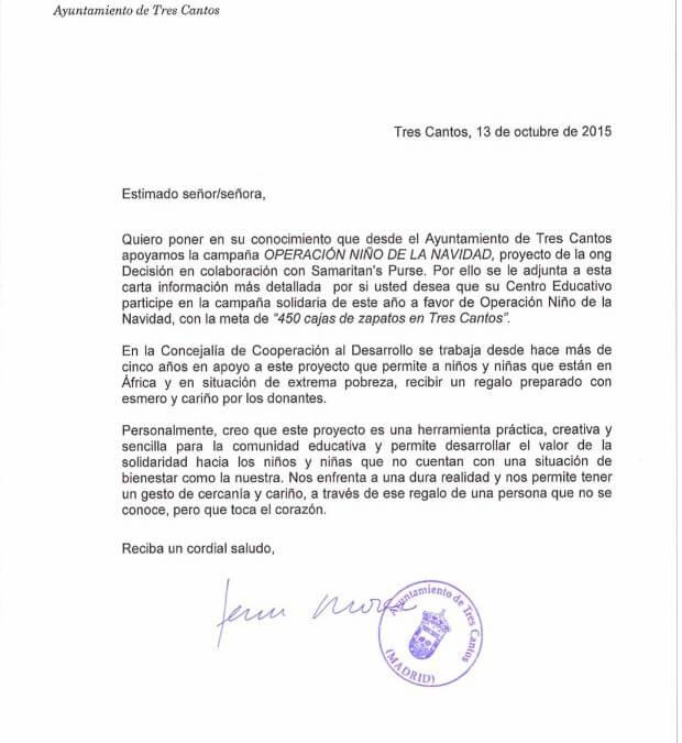 Carta de Apoyo del Ayuntamiento de Tres Cantos a ONN